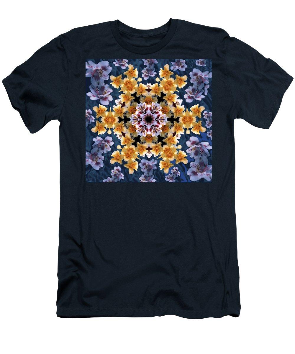 Mandala Men's T-Shirt (Athletic Fit) featuring the digital art Mandala Alstro by Nancy Griswold