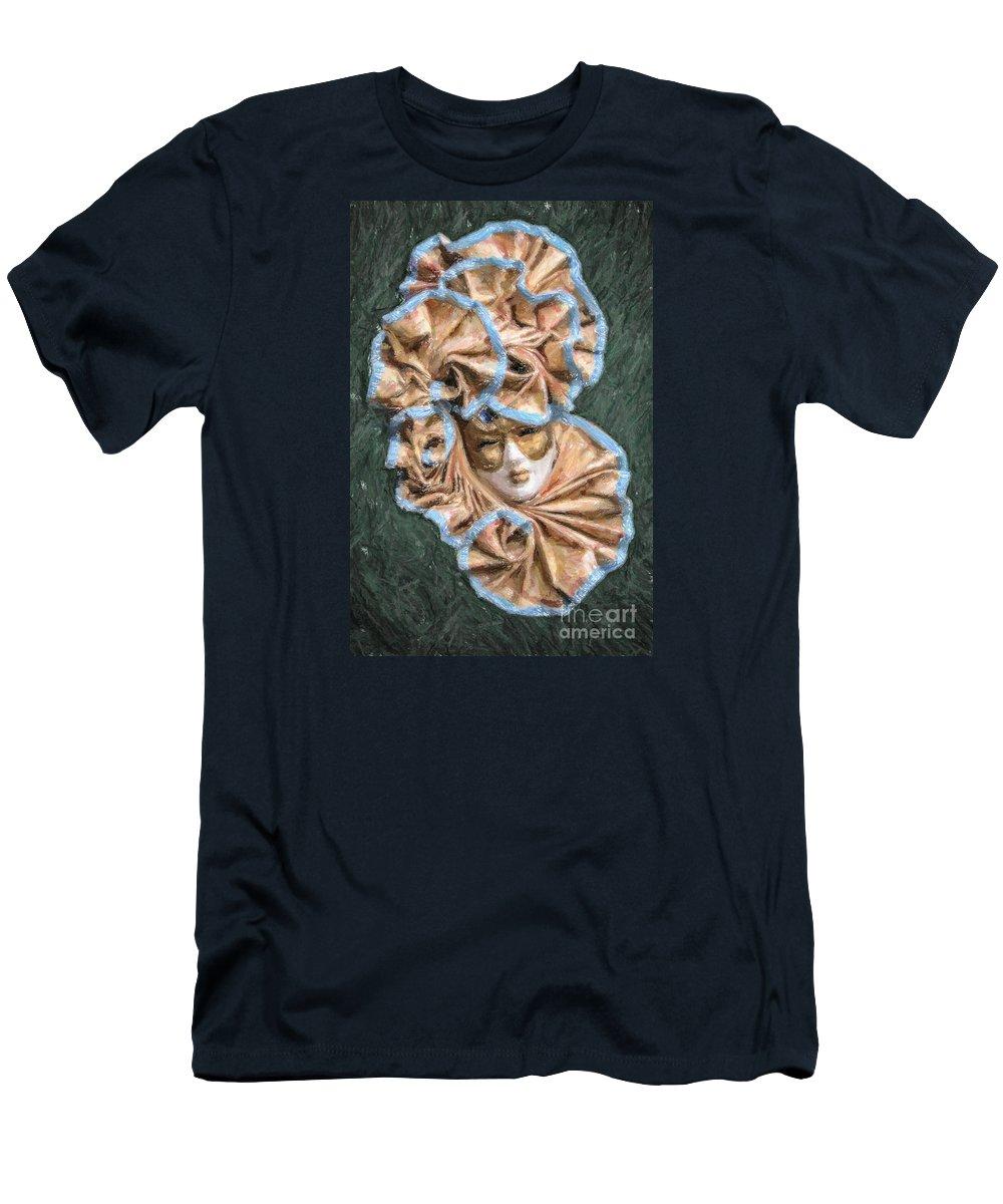 Maschera Di Carnevale Men's T-Shirt (Athletic Fit) featuring the digital art Maschera Di Carnevale by Liz Leyden