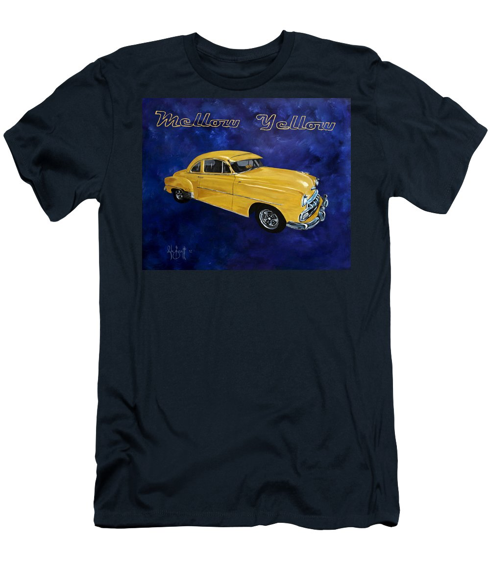 Car Men's T-Shirt (Athletic Fit) featuring the painting Mellow Yellow by Alex Izatt