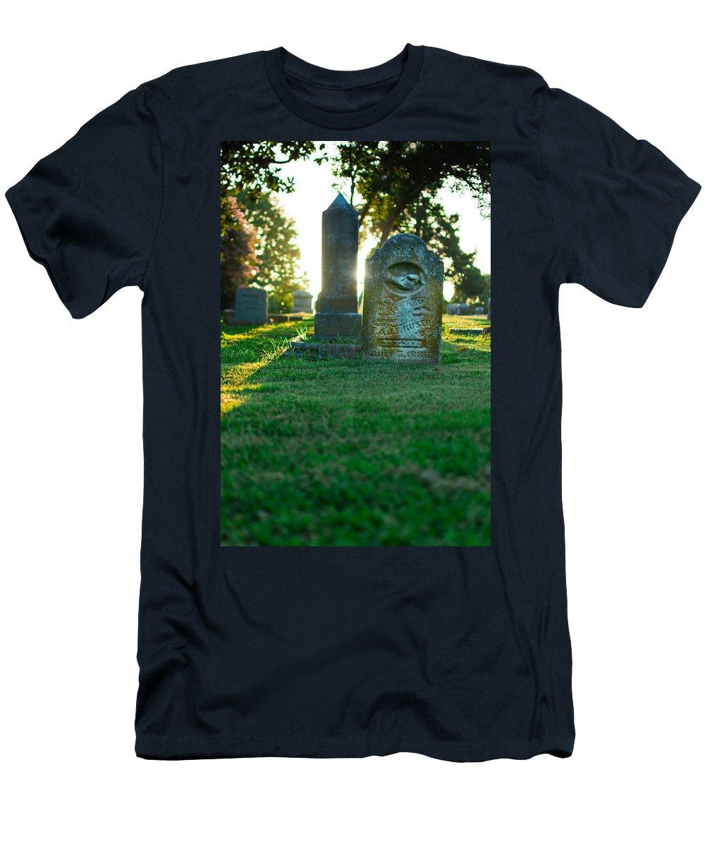Memphis Men's T-Shirt (Athletic Fit) featuring the photograph Memphis Elmwood Cemetery - Backlit Grave Stones by Jon Woodhams