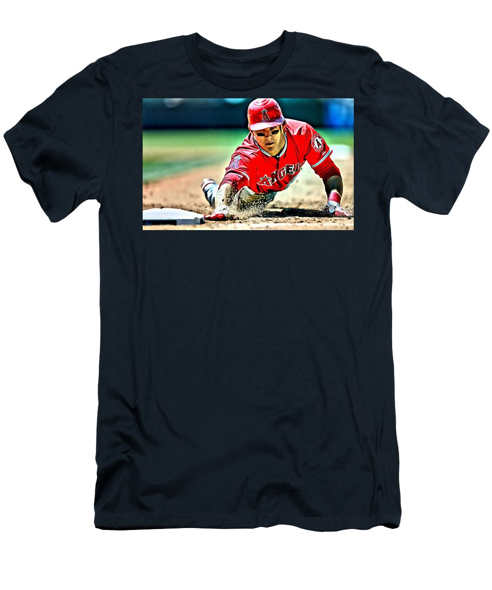 Mlb Men's T-Shirt (Athletic Fit) featuring the painting Mike Trout Painting by Florian Rodarte