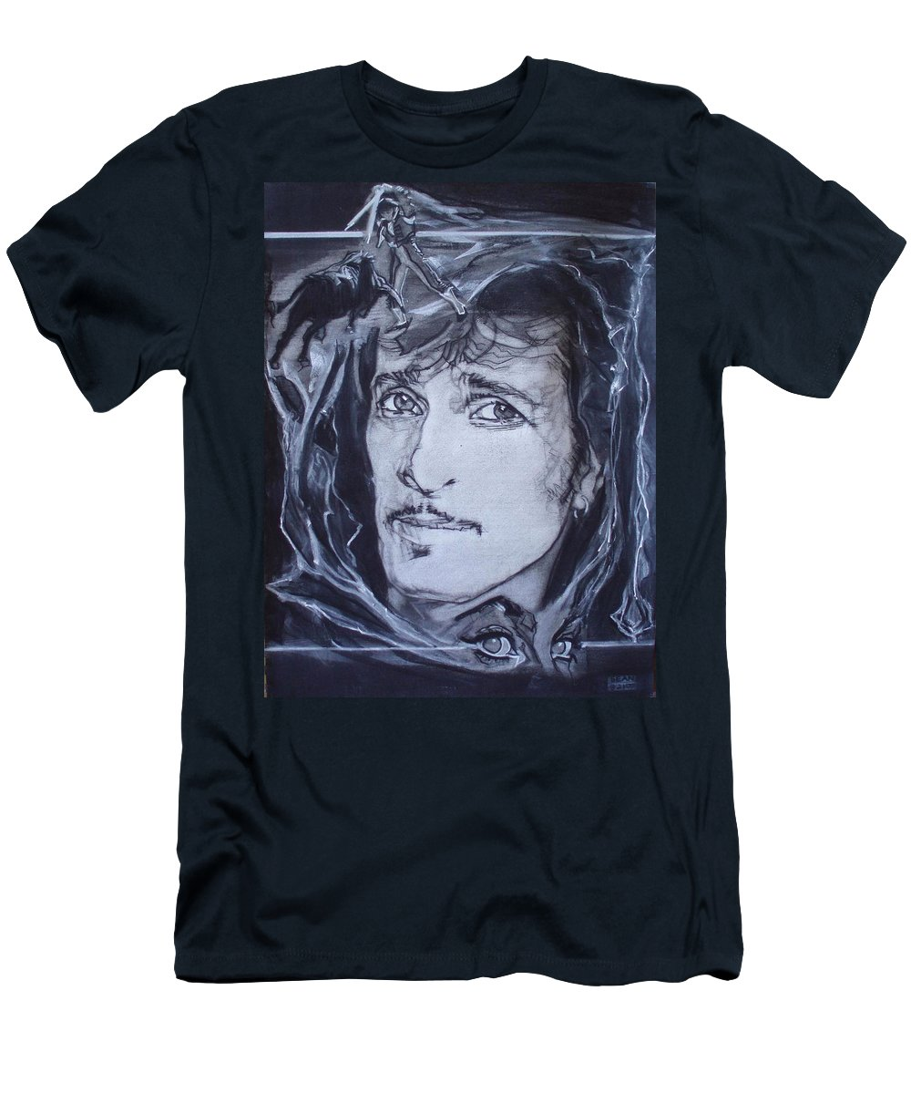 Charcoal;mink Deville;new York City;gina Lollabrigida Eyes ;cat Eyes;bullfight;toreador;swords;death;smoke;blues Men's T-Shirt (Athletic Fit) featuring the drawing Willy Deville - Coup De Grace by Sean Connolly