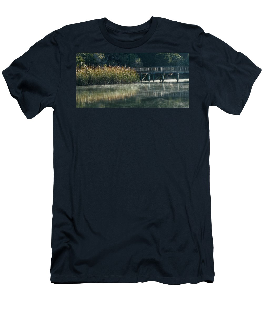 Florida Men's T-Shirt (Athletic Fit) featuring the photograph Misty Pond by Jane Luxton