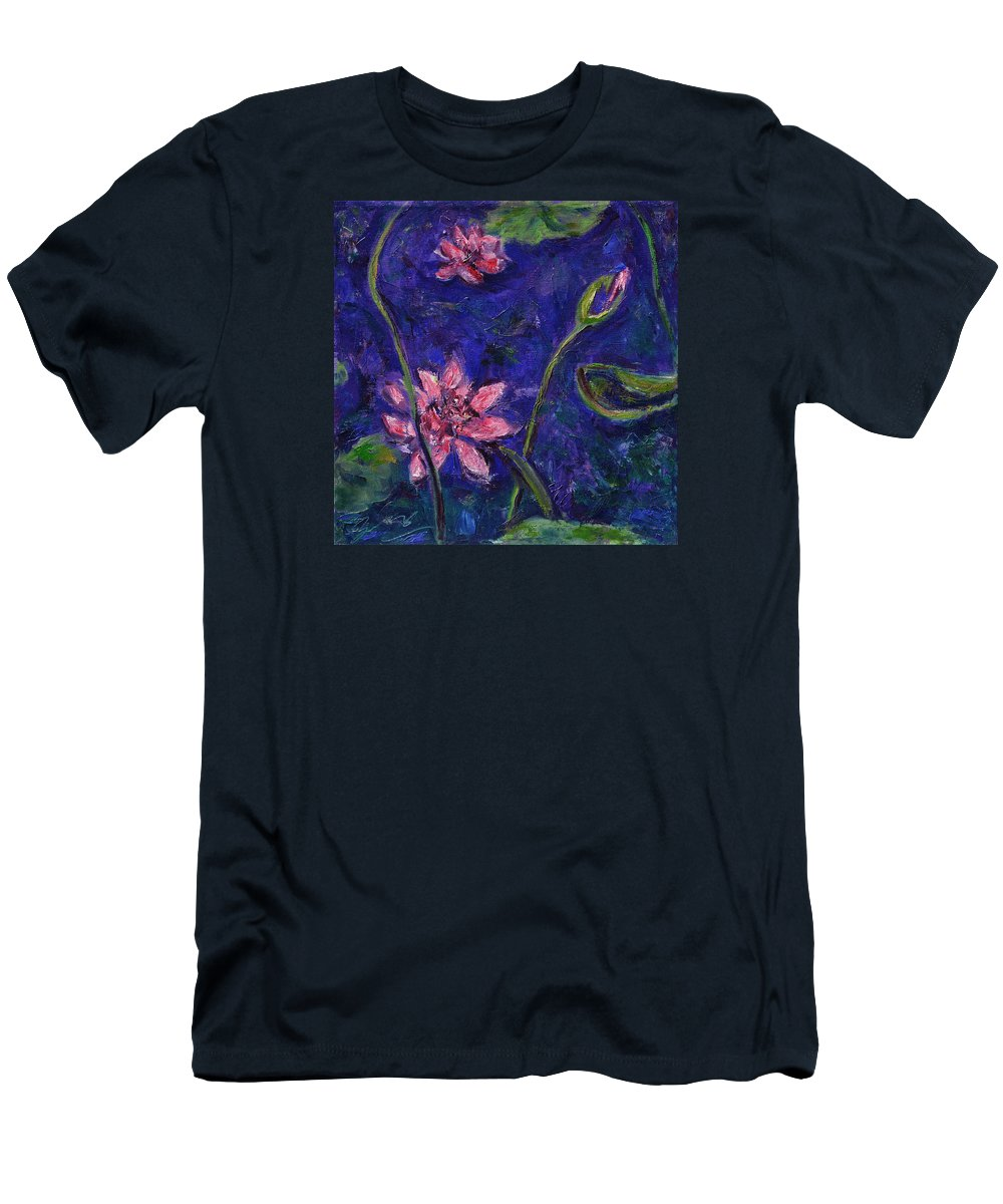 Water Lilies Men's T-Shirt (Athletic Fit) featuring the painting Monet's Lily Pond I by Xueling Zou