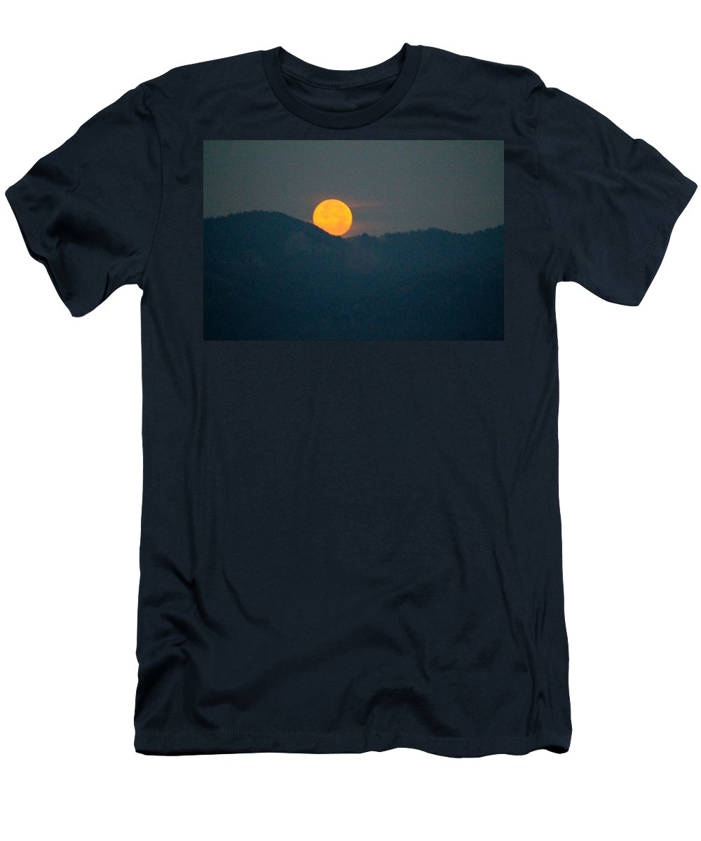 Super Moon Men's T-Shirt (Athletic Fit) featuring the photograph Moon And Mountains by Catie Canetti