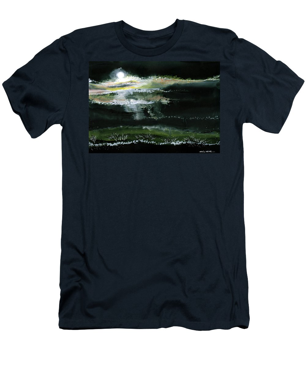 Night Men's T-Shirt (Athletic Fit) featuring the painting Moon N Light by Anil Nene