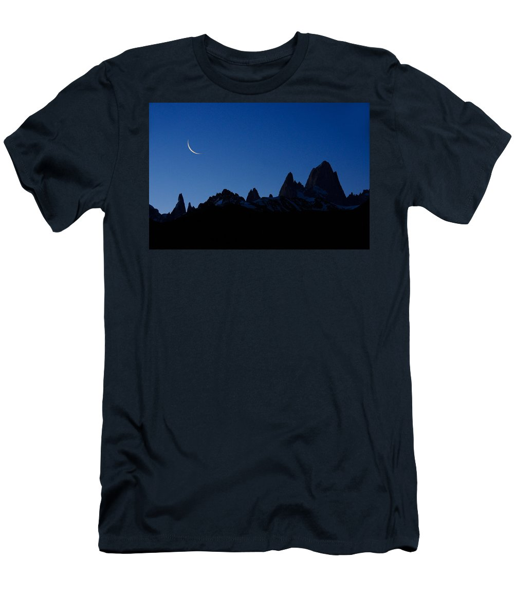 Argentina Men's T-Shirt (Athletic Fit) featuring the photograph Moon Over Mount Fitz Roy by Michele Burgess