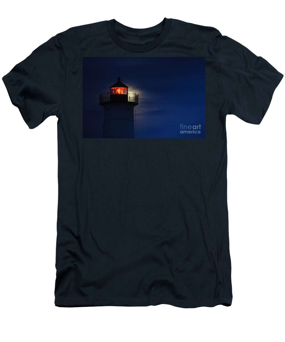 Nubble Lighthouse Men's T-Shirt (Athletic Fit) featuring the photograph Moonrise At Nubble Lighthouse by Scott Thorp