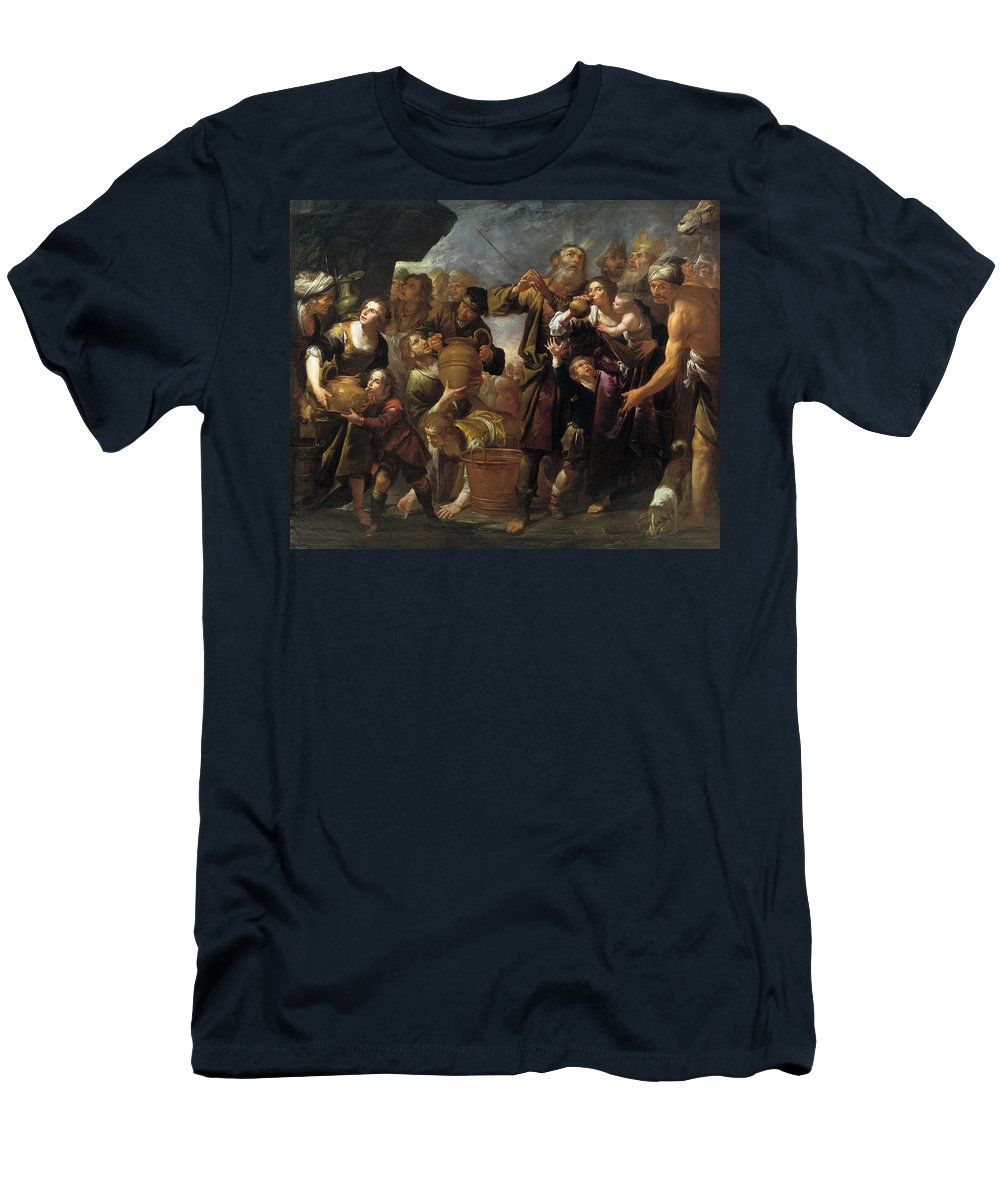 Gioacchino Assereto Men's T-Shirt (Athletic Fit) featuring the painting Moses And The Water From The Stone by Gioacchino Assereto