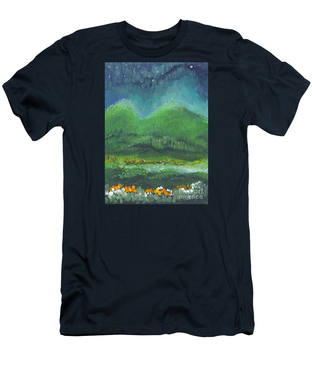 Night Men's T-Shirt (Athletic Fit) featuring the painting Mountains At Night by Holly Carmichael