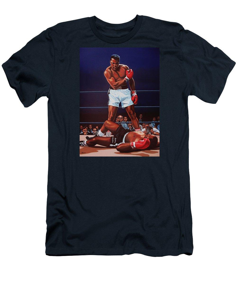 Mohammed Ali Versus Sonny Liston T-Shirt featuring the painting Muhammad Ali Versus Sonny Liston by Paul Meijering