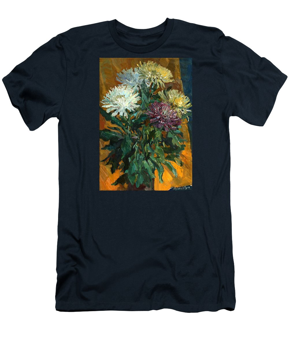 Still Life Men's T-Shirt (Athletic Fit) featuring the painting Multi Colored Chrysanthemums by Juliya Zhukova