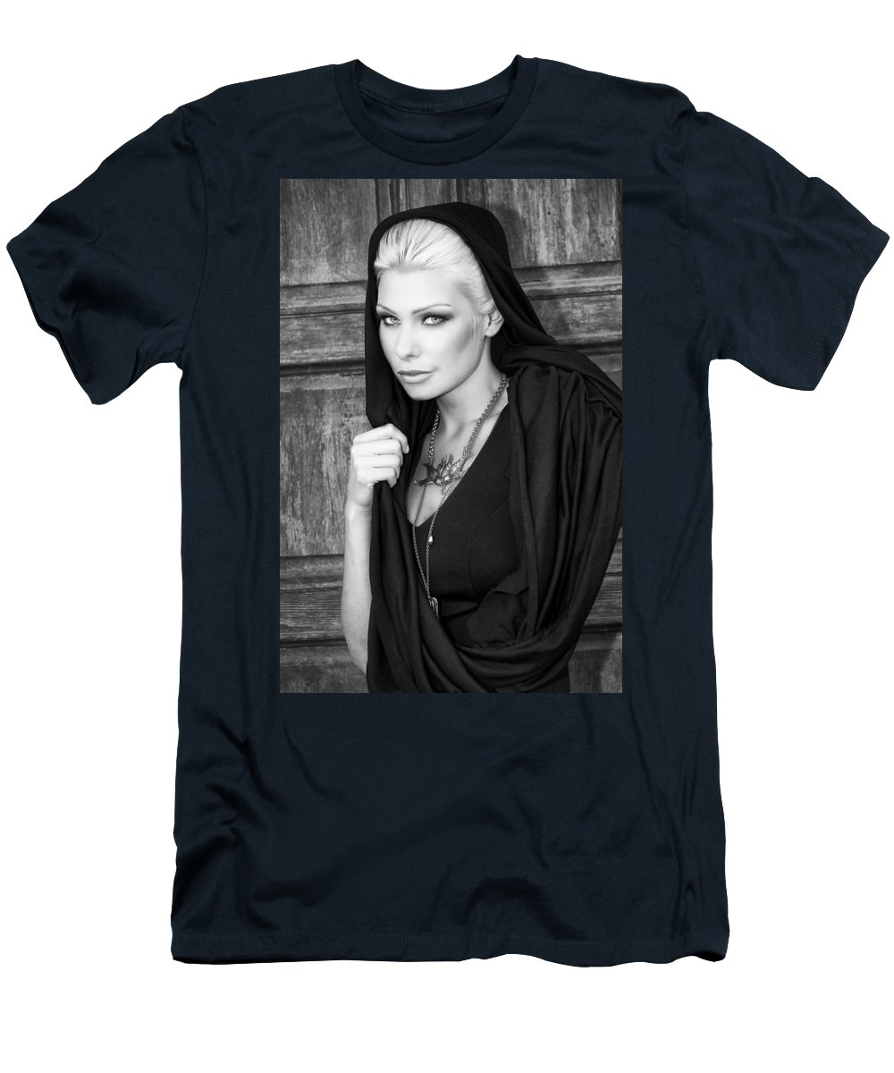 Blonde Men's T-Shirt (Athletic Fit) featuring the photograph Mysterious Obsession Bw Palm Springs by William Dey