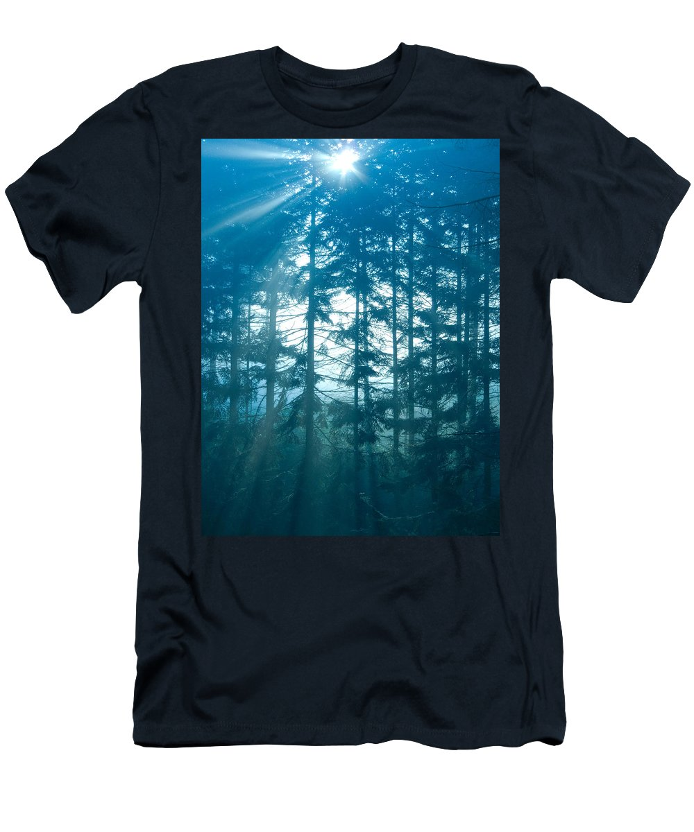 Nature Men's T-Shirt (Athletic Fit) featuring the photograph Mystic Light by Daniel Csoka