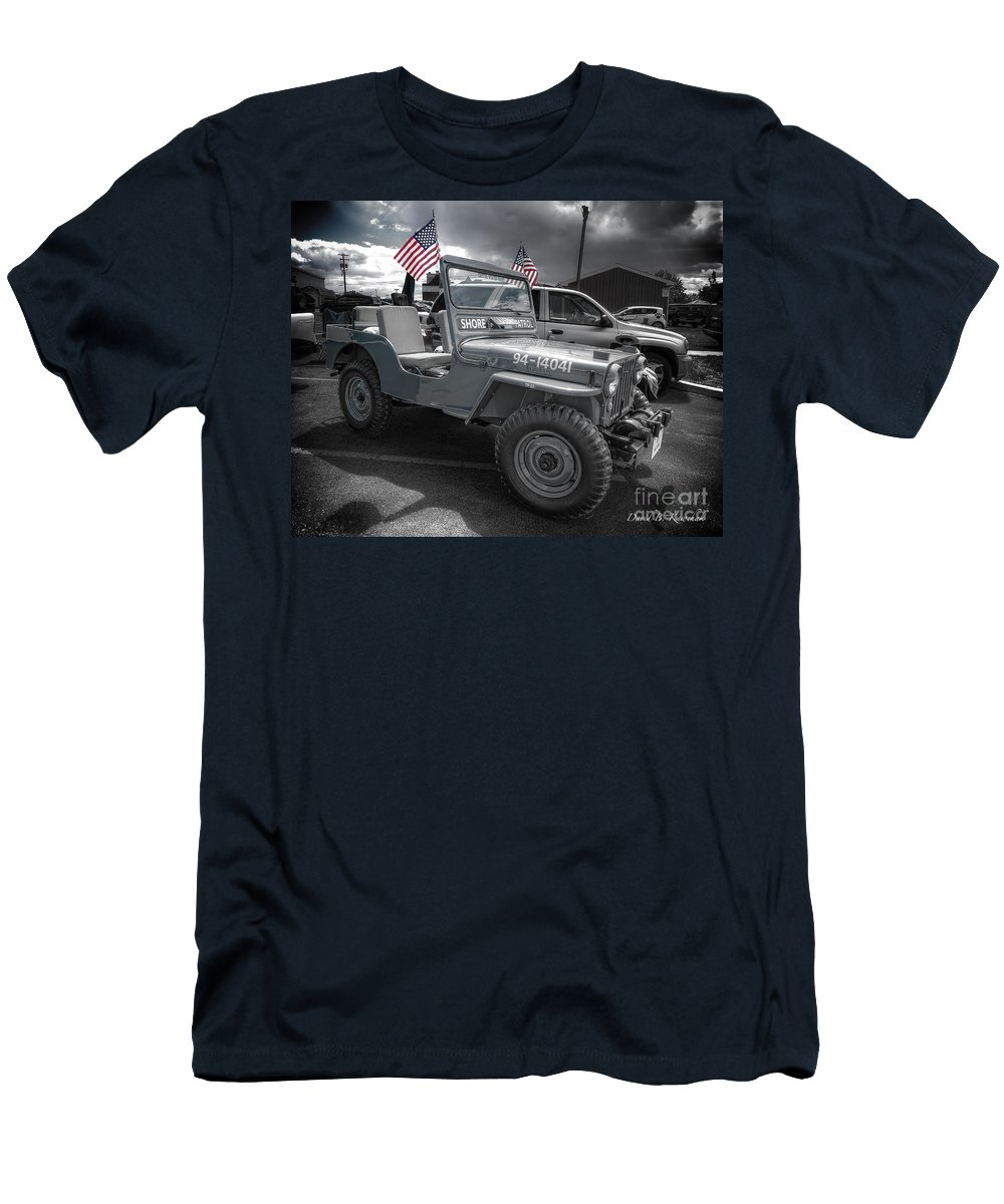 Navy Jeep Men's T-Shirt (Athletic Fit) featuring the photograph Navy Jeep by David B Kawchak Custom Classic Photography