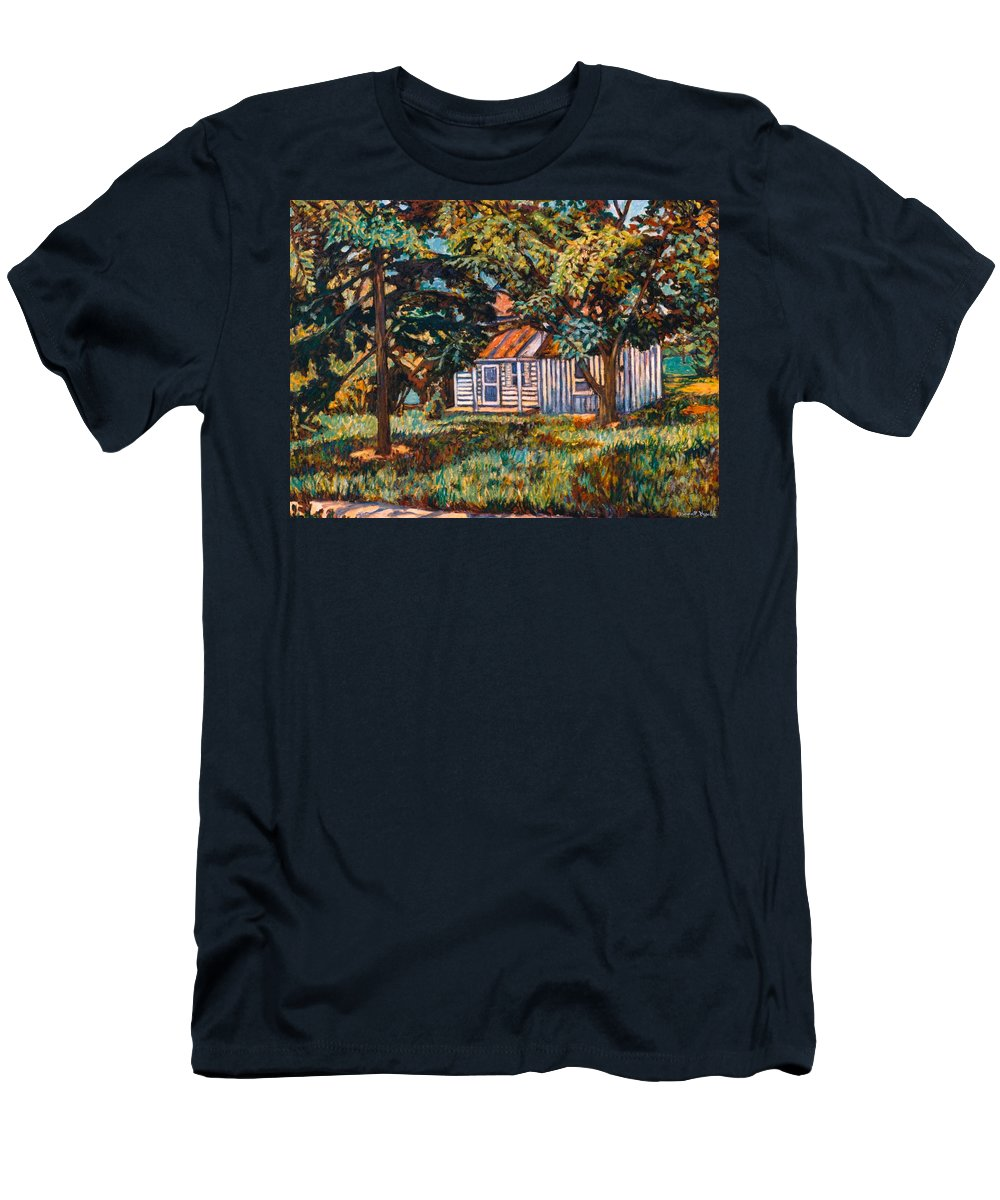 Architecture Men's T-Shirt (Athletic Fit) featuring the painting Near The Tech Duck Pond by Kendall Kessler