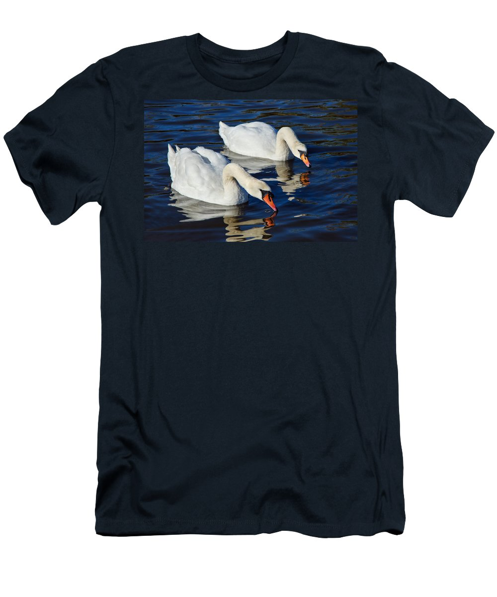 Swan.swans Men's T-Shirt (Athletic Fit) featuring the photograph Never Drink Alone by Susie Peek