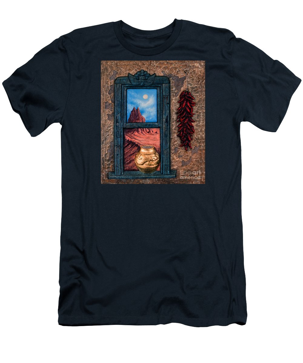 New-mexico Men's T-Shirt (Athletic Fit) featuring the mixed media New Mexico Window Gold by Ricardo Chavez-Mendez