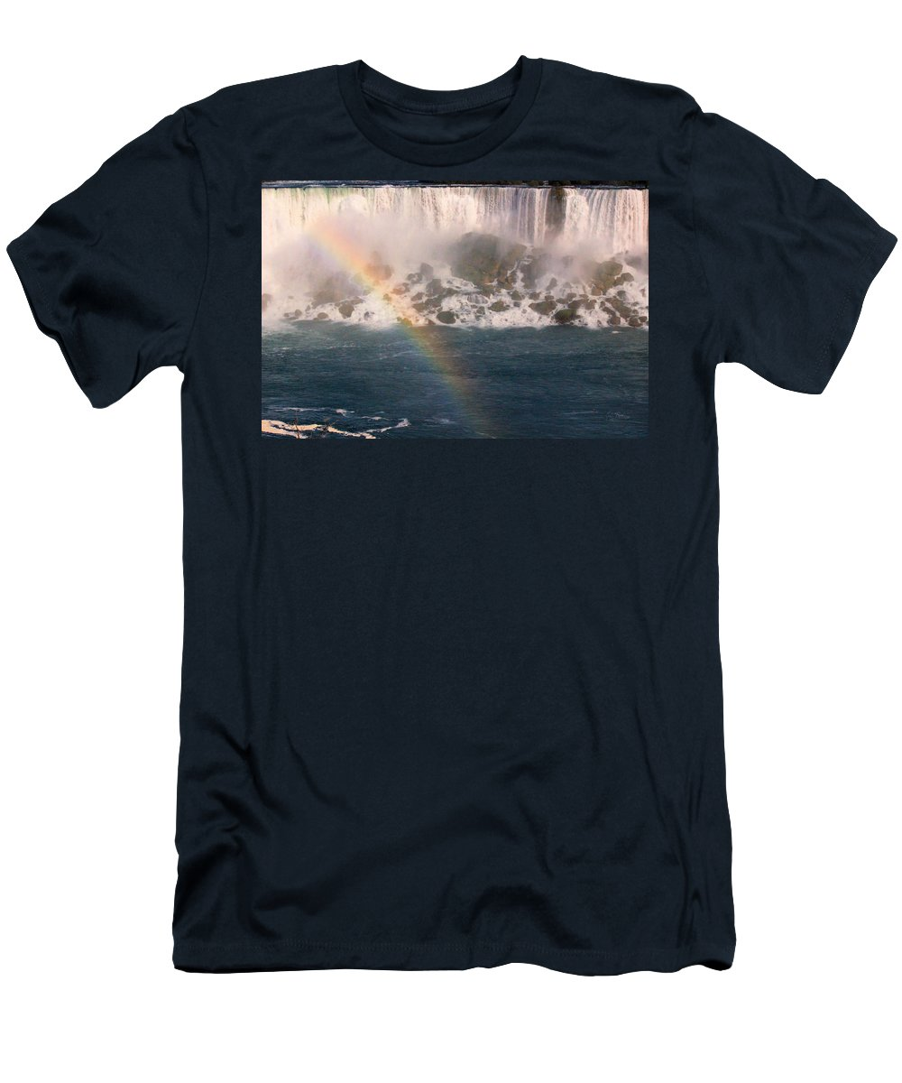 Niagara Warerfalls Men's T-Shirt (Athletic Fit) featuring the photograph Niagara Rainbow by Eti Reid