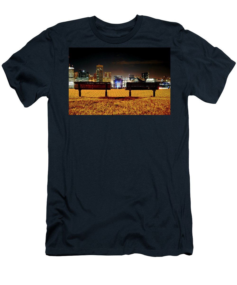 City Men's T-Shirt (Athletic Fit) featuring the photograph Night In The City by La Dolce Vita
