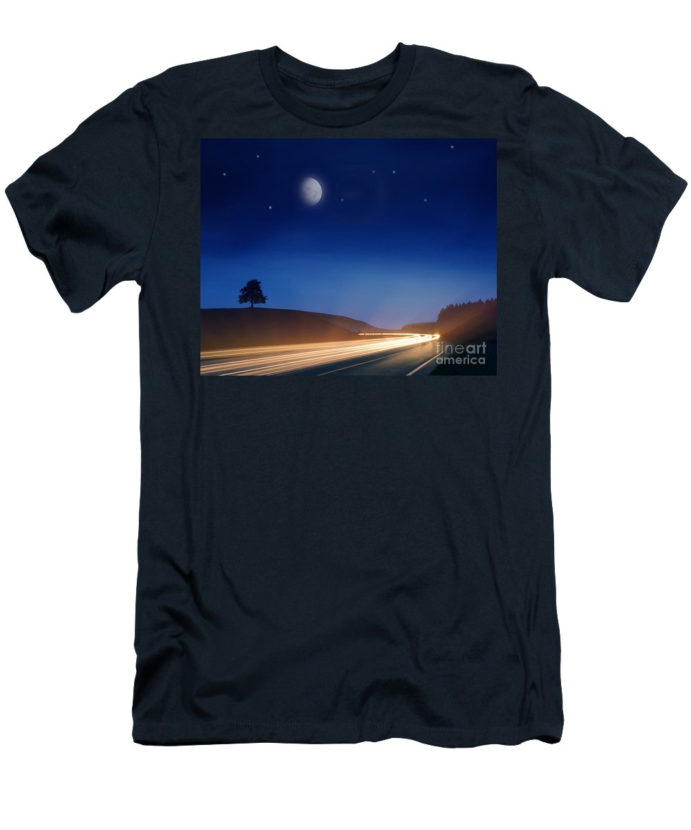 Night Moves Men's T-Shirt (Athletic Fit) featuring the photograph Night Moves by Edmund Nagele