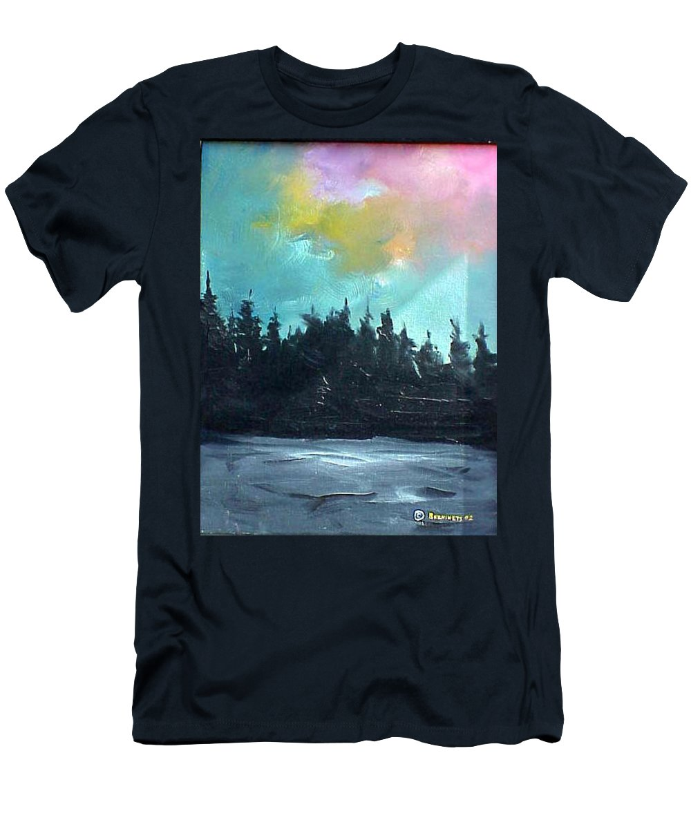 Landscape Men's T-Shirt (Athletic Fit) featuring the painting Night River by Sergey Bezhinets