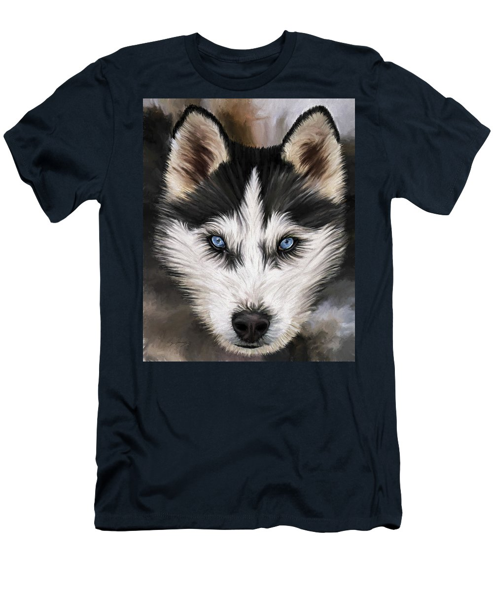 Dog Art Men's T-Shirt (Athletic Fit) featuring the painting Nikki by David Wagner