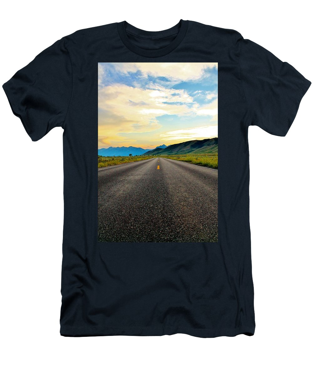 Open Road Men's T-Shirt (Athletic Fit) featuring the photograph No One Near by Catie Canetti