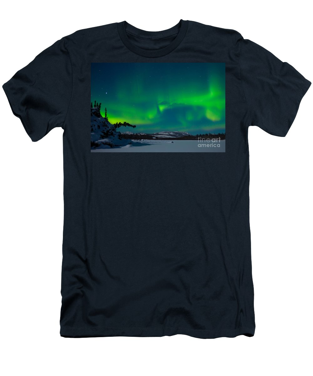 Adventure Men's T-Shirt (Athletic Fit) featuring the photograph Northern Lights Or Aurora Borealis by Stephan Pietzko