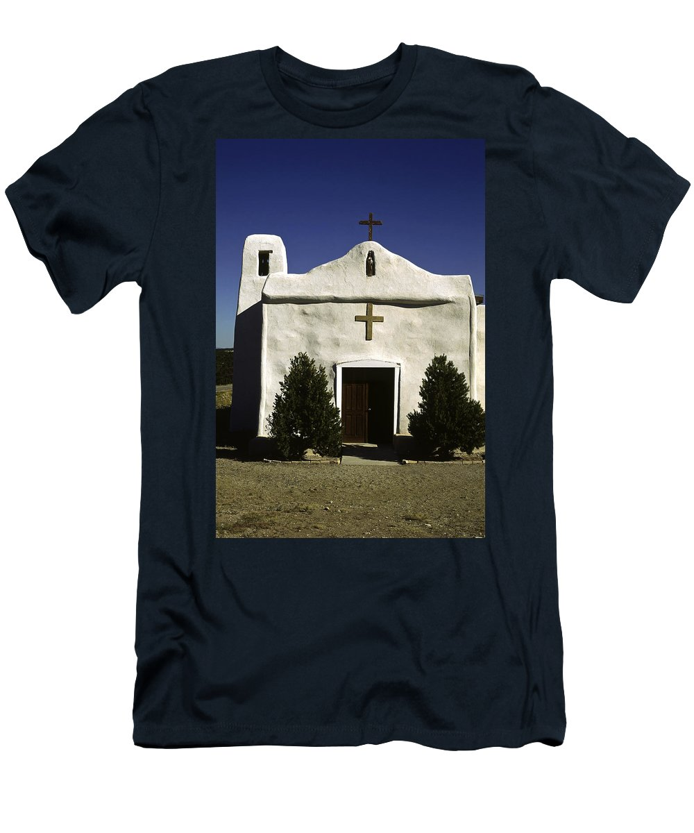 White Adobe Style Church Men's T-Shirt (Athletic Fit) featuring the photograph Old Adobe Church by Sally Weigand