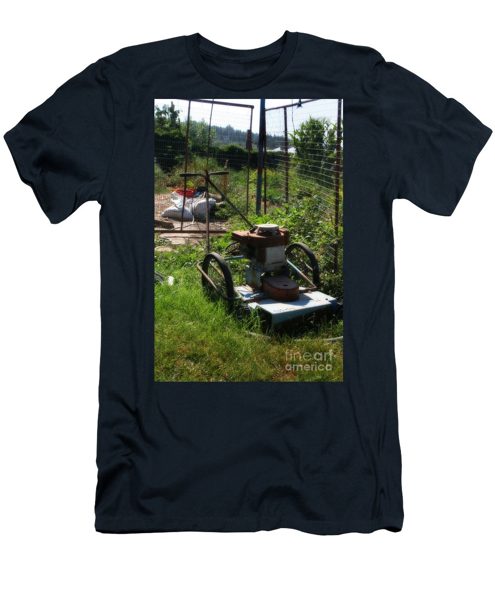 Tools Men's T-Shirt (Athletic Fit) featuring the photograph Vintage Lawn Mower by Doc Braham