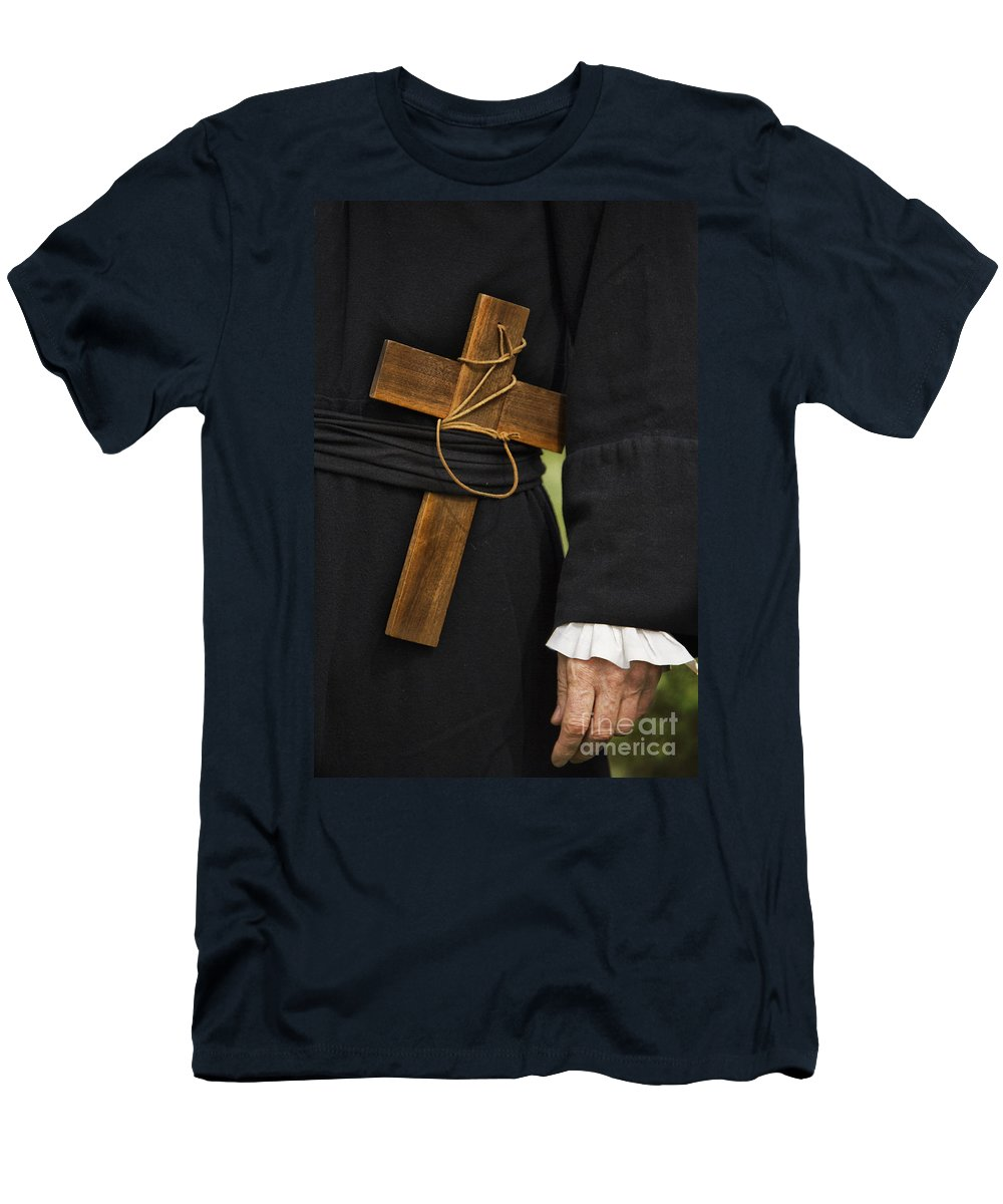 Caucasian; Man; Male; Old; Hand; Trim; Robe; Cross; Wood; Wooden; Leather; Large; Symbol; Religion; Symbolism; Close Up; Religious; Priest; Faith; God; Jesus; Clergy; Sash; Belt; Christian; Catholic Men's T-Shirt (Athletic Fit) featuring the photograph Old Priest by Margie Hurwich