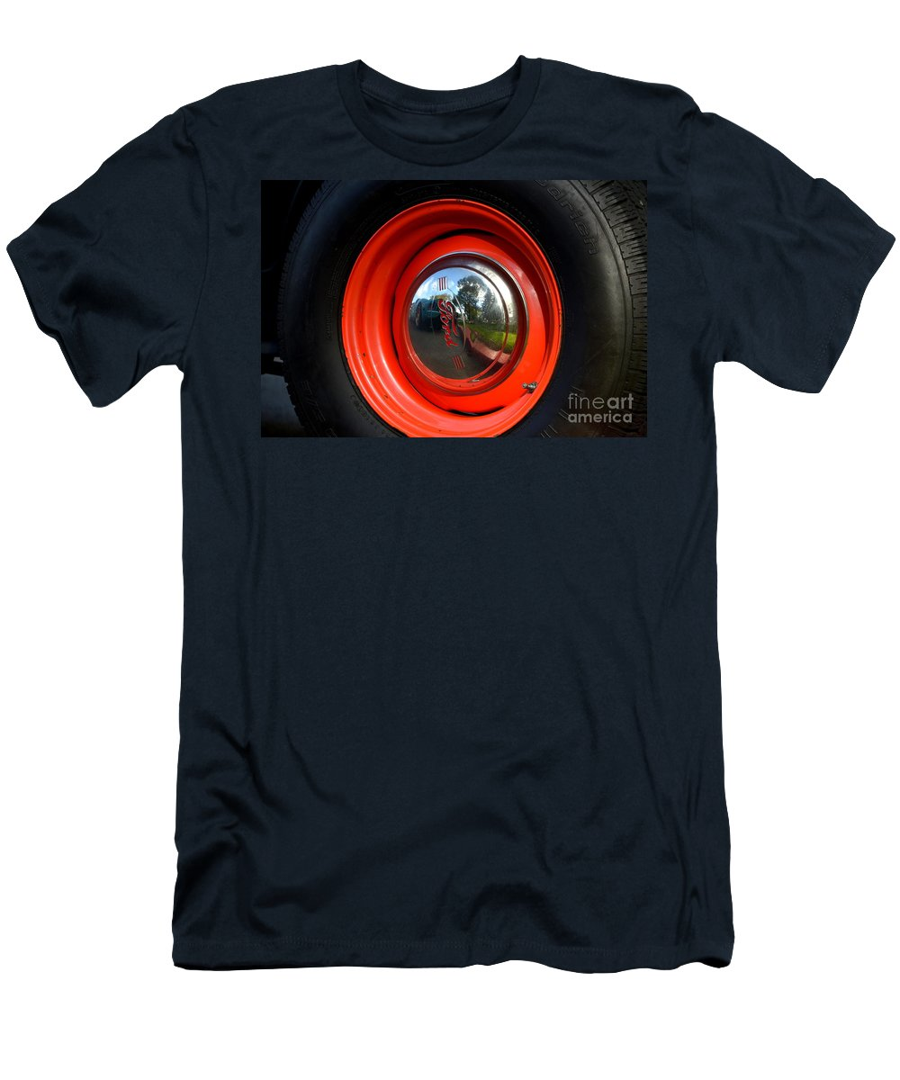 Men's T-Shirt (Athletic Fit) featuring the photograph Old School Wheel And New Reflection by Dean Ferreira