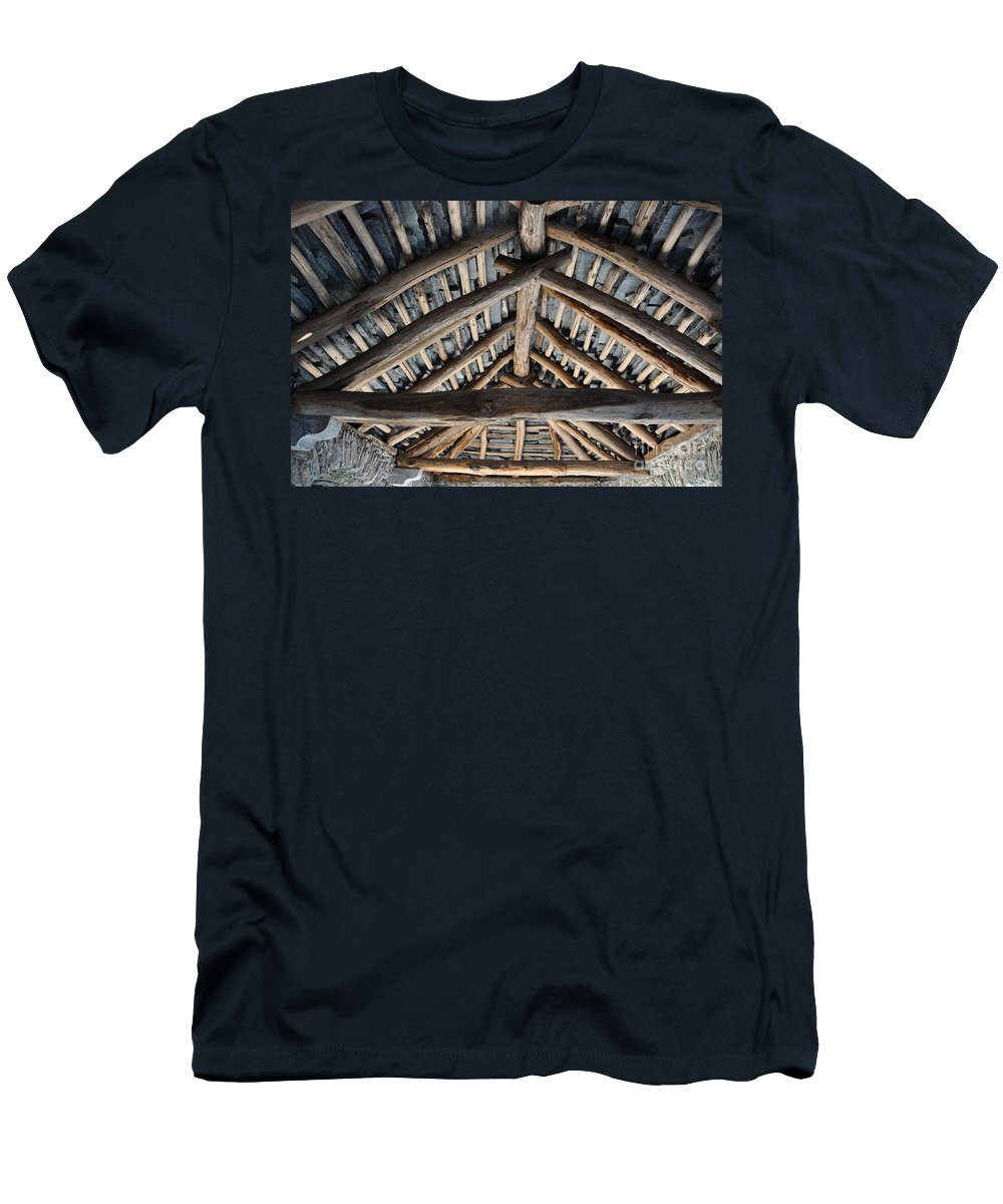 Roof Men's T-Shirt (Athletic Fit) featuring the photograph Old Stone Roof by Mats Silvan