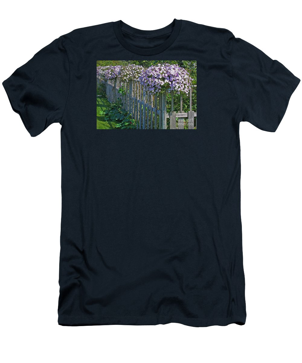 Petunia Men's T-Shirt (Athletic Fit) featuring the photograph On The Fence by Ann Horn