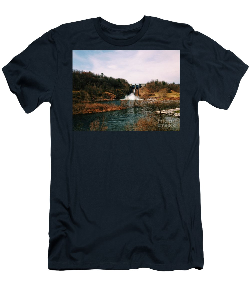 Nature Men's T-Shirt (Athletic Fit) featuring the photograph Dam At Raystown Lake by Tom Gari Gallery-Three-Photography