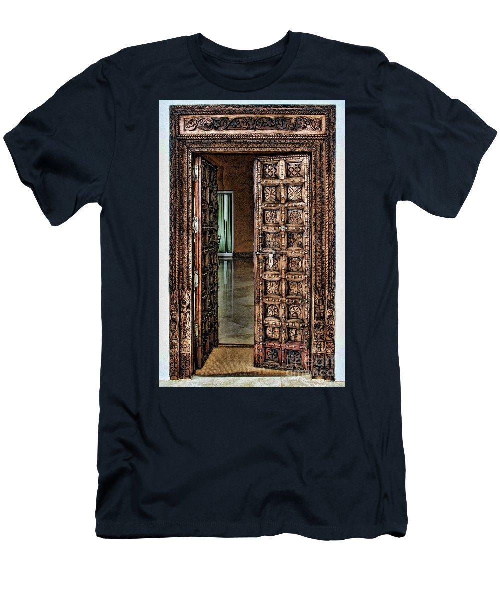 Door Men's T-Shirt (Athletic Fit) featuring the photograph Open Door By Diana Sainz by Diana Raquel Sainz