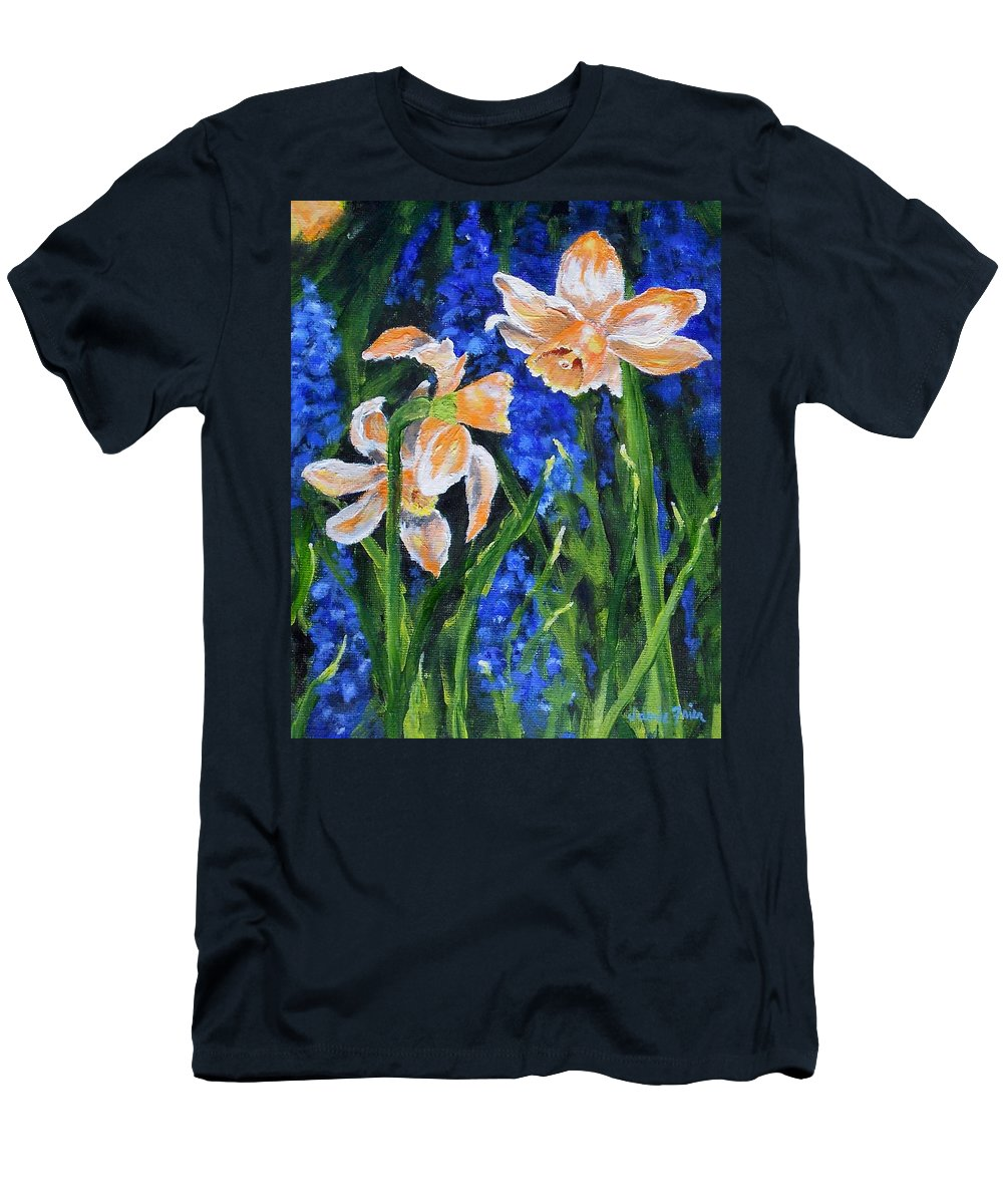 Flowers Men's T-Shirt (Athletic Fit) featuring the painting Orange Daffs by Jamie Frier