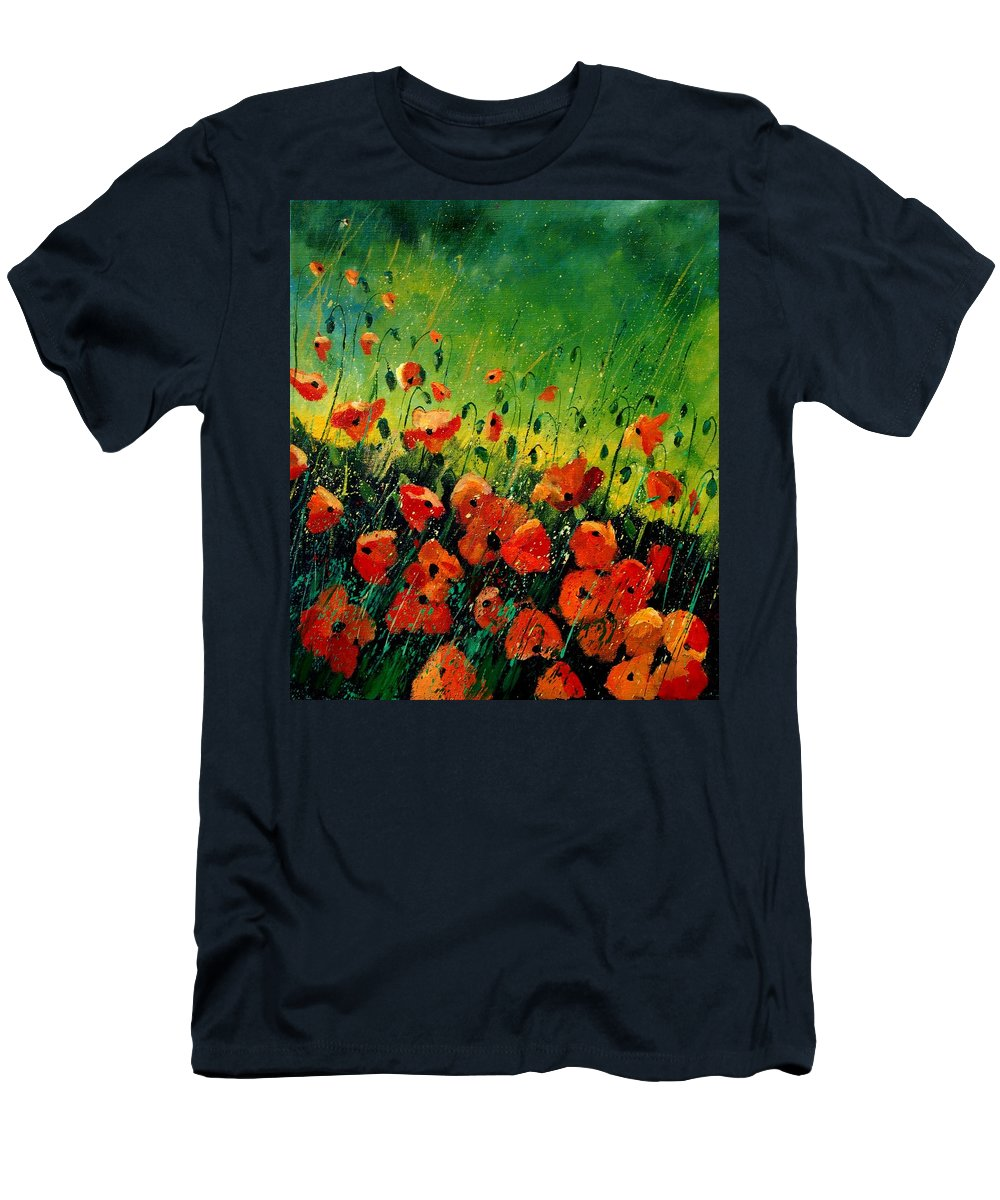 Poppies Men's T-Shirt (Athletic Fit) featuring the painting Orange Poppies by Pol Ledent