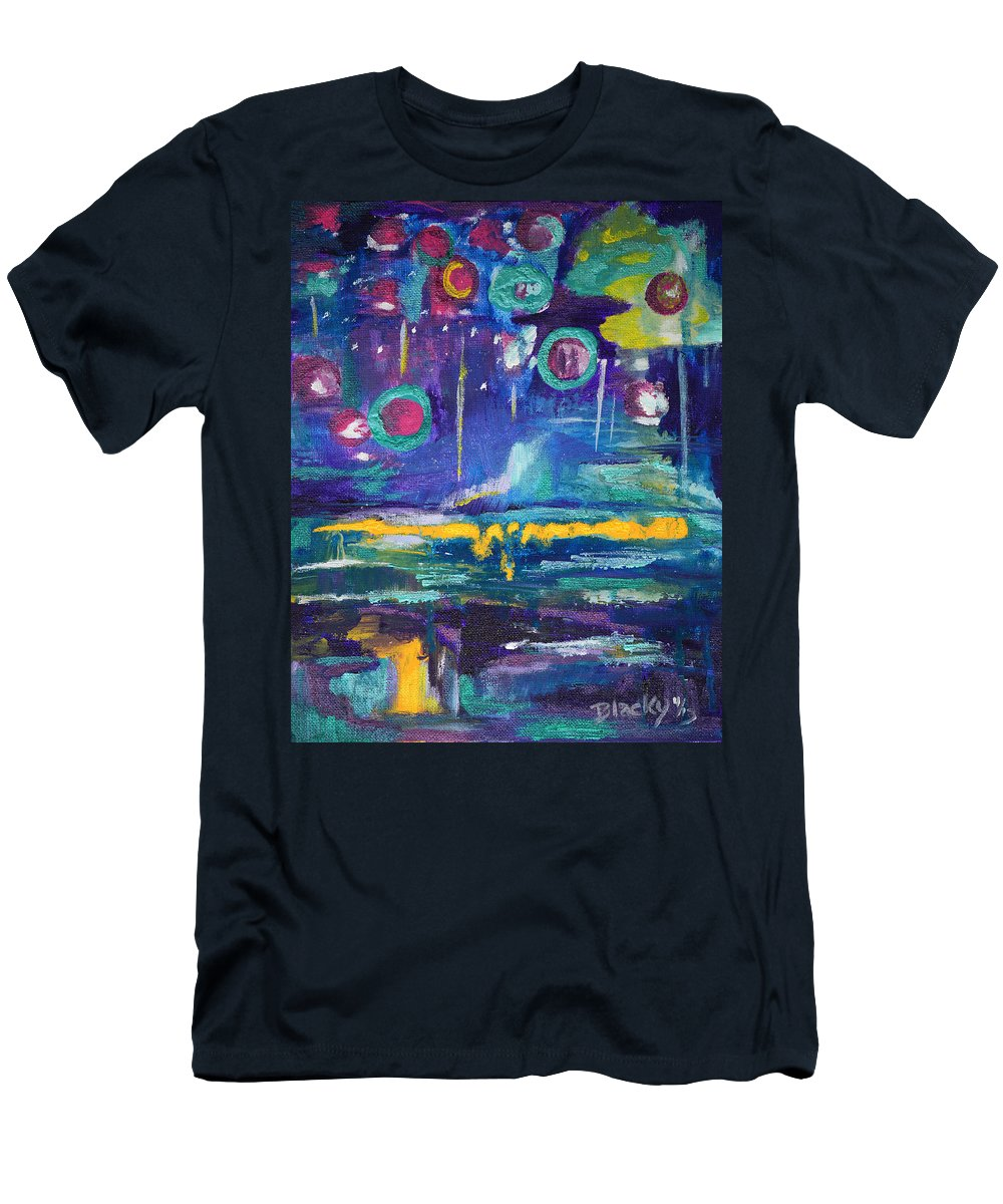 Vibrant Abstract Men's T-Shirt (Athletic Fit) featuring the painting Out In The Universe by Donna Blackhall