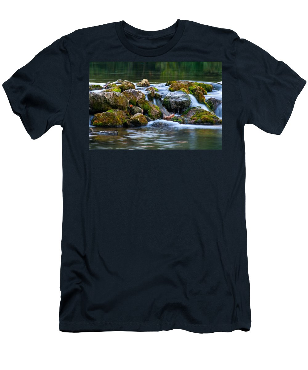Waterfall Men's T-Shirt (Athletic Fit) featuring the photograph Ozark Waterfall by Steve Stuller