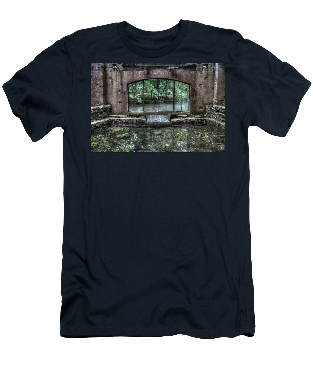 Kettle Moraine Men's T-Shirt (Athletic Fit) featuring the photograph Paradise Springs Spring House Interior 4 by Jennifer Rondinelli Reilly - Fine Art Photography
