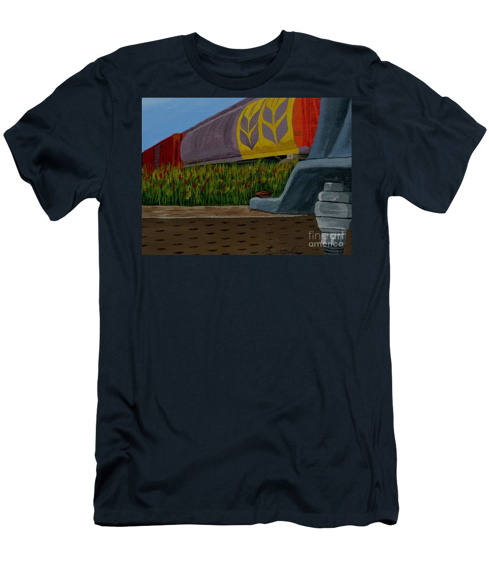 Train Men's T-Shirt (Athletic Fit) featuring the painting Passing The Wild Ones by Anthony Dunphy