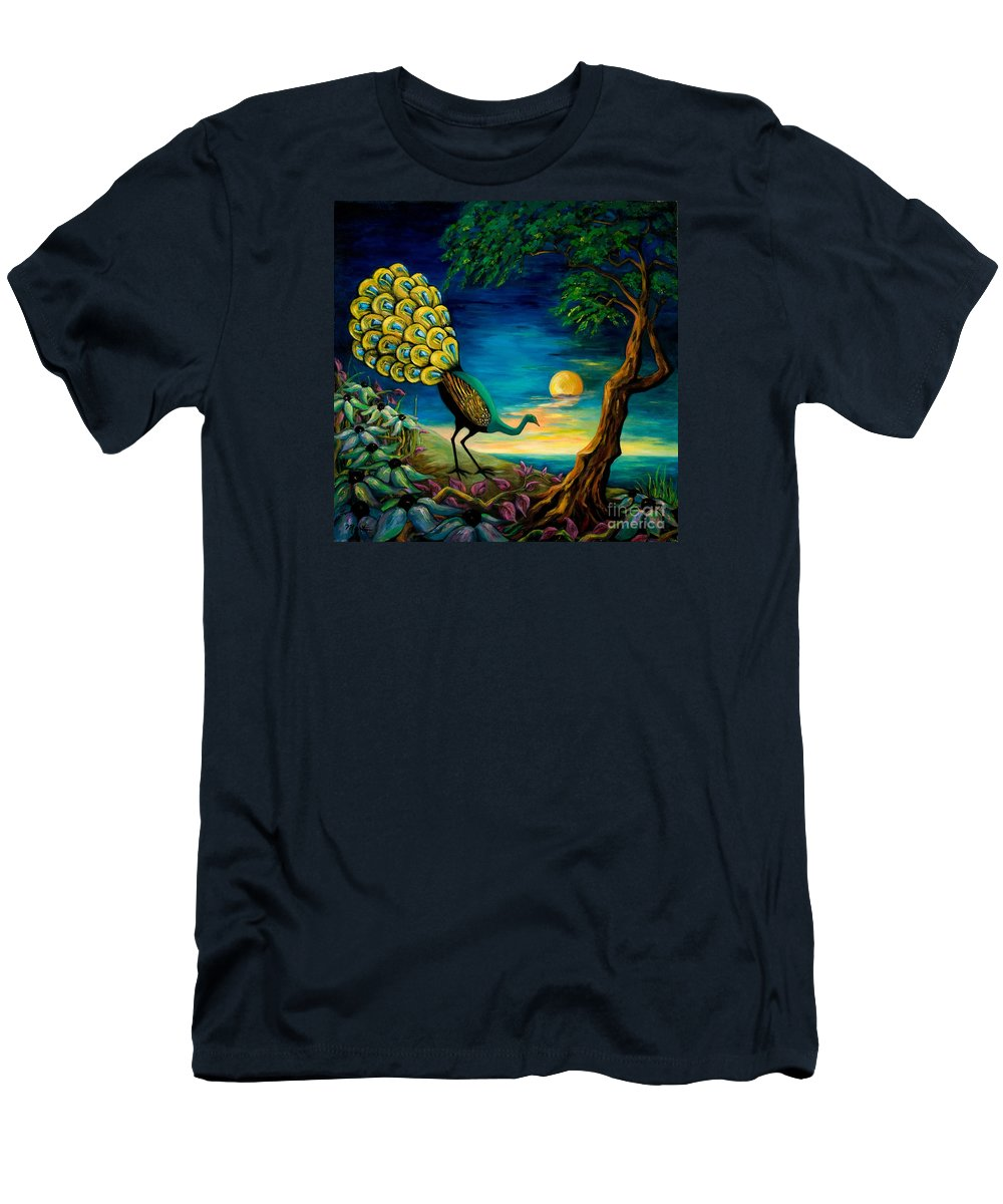 Peacock Men's T-Shirt (Athletic Fit) featuring the painting Peacock Strolls On The Beach by Larry Martin