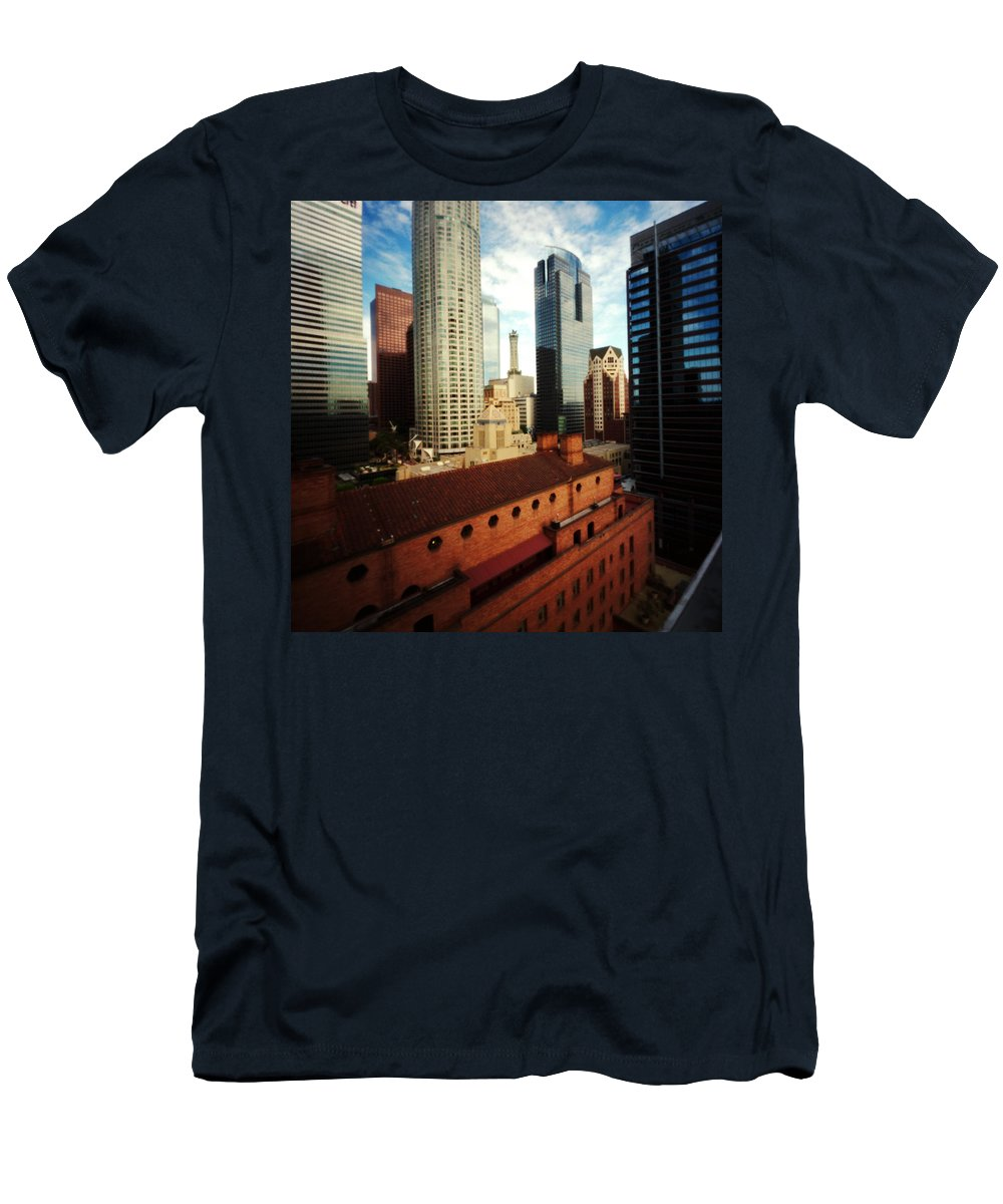 Pinhole Men's T-Shirt (Athletic Fit) featuring the photograph Pinhole Los Angeles Cityscape by Hugh Smith