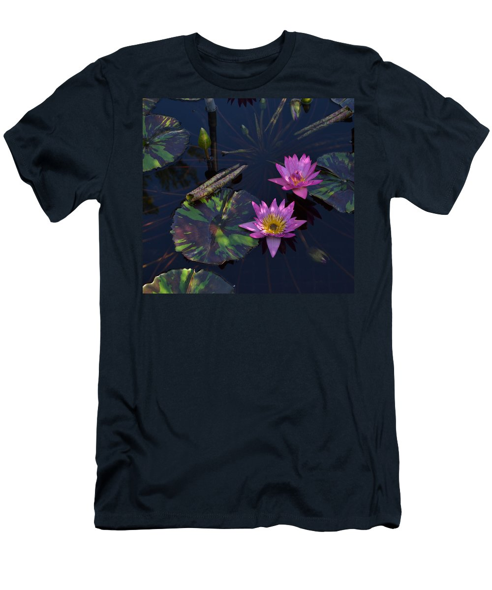 Water Men's T-Shirt (Athletic Fit) featuring the photograph Pink Water Lilly by Wanda J King