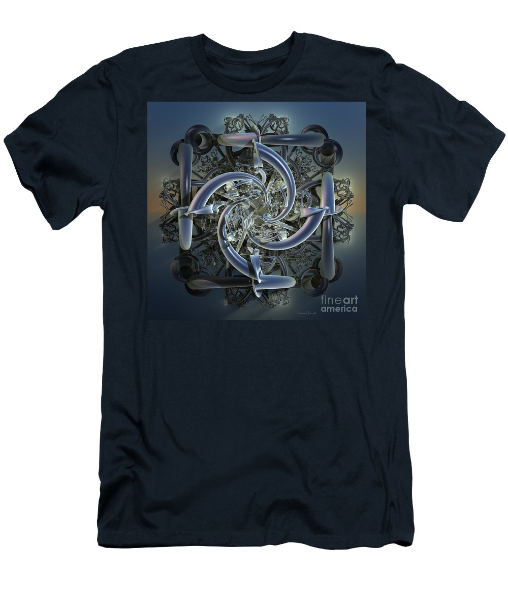 Incendia Men's T-Shirt (Athletic Fit) featuring the mixed media Pipes In Blue by Deborah Benoit