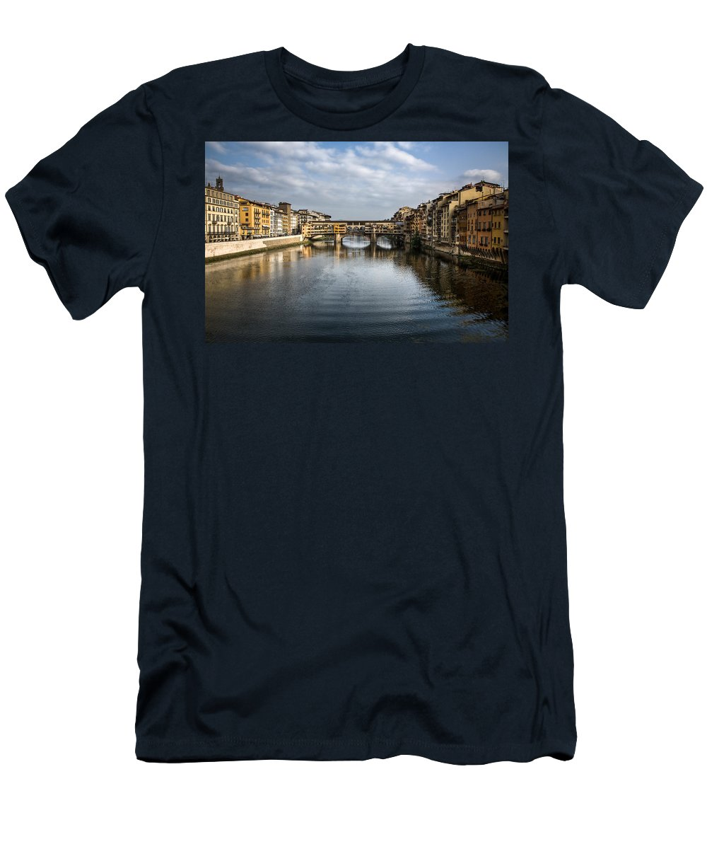 Italy Men's T-Shirt (Athletic Fit) featuring the photograph Ponte Vecchio by Dave Bowman