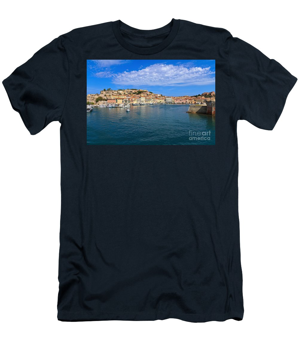 Italy Men's T-Shirt (Athletic Fit) featuring the photograph Portoferraio - View From The Sea by Antonio Scarpi