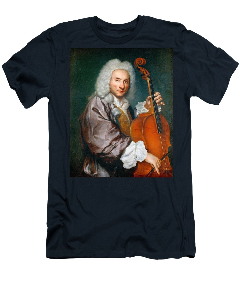 Giacomo Ceruti Men's T-Shirt (Athletic Fit) featuring the painting Portrait Of A Cellist by Giacomo Ceruti